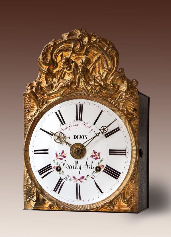 Comtoise met feuille Seule Fabrique Horloges à Dijon, Bailly Fils